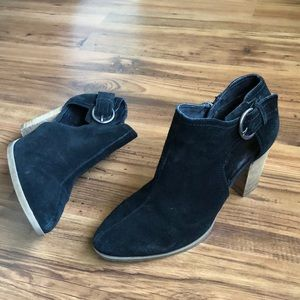 FRANCO FORTINI Black Suede Ankle Booties